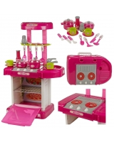 Childrens Pink Electronic Play Kitchen Oven Cooker Set For Cooking And Play